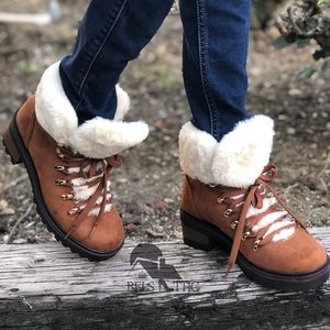 Lace Up Hiking Bootie With Vegan Fur Collar